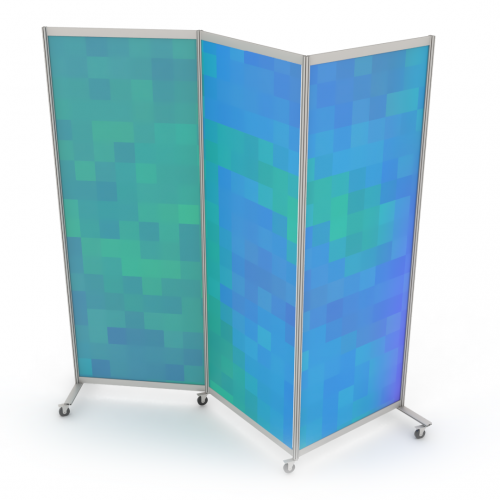 Mobile partition wall with wheels angled version