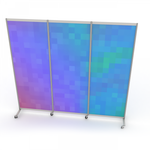 Mobile partition wall with wheels